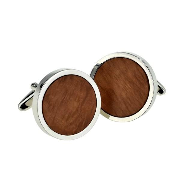 Round briar wood cufflinks