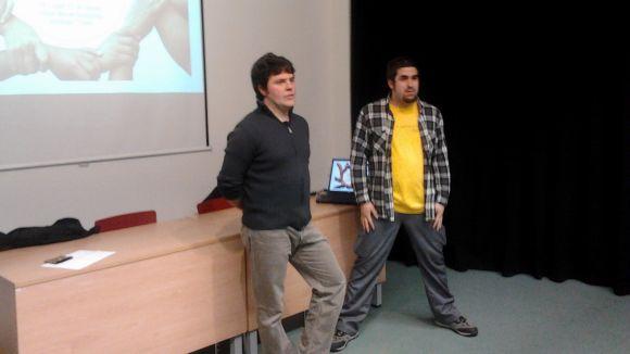 L'economista Josep Manel Busqueta, a l'esquerra, durant la conferència
