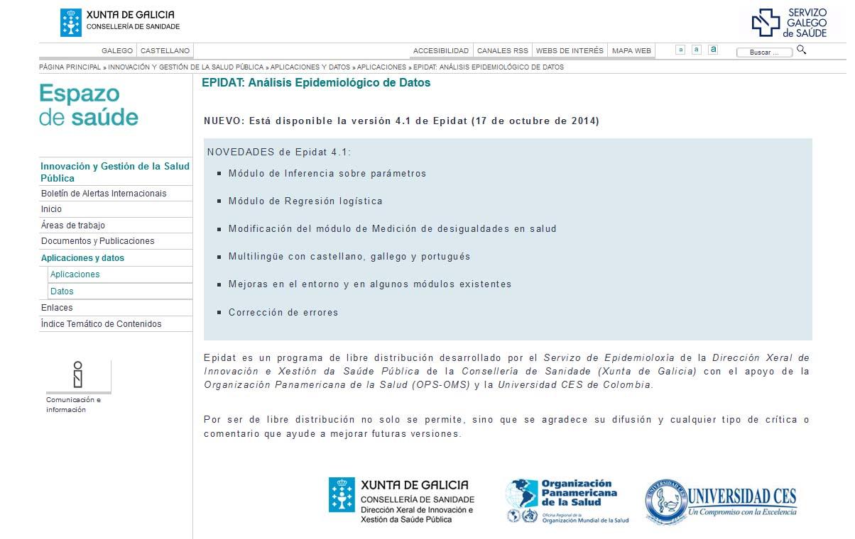 EPIDAT (versión 4.1.): programa para análisis epidemiológico y estadístico