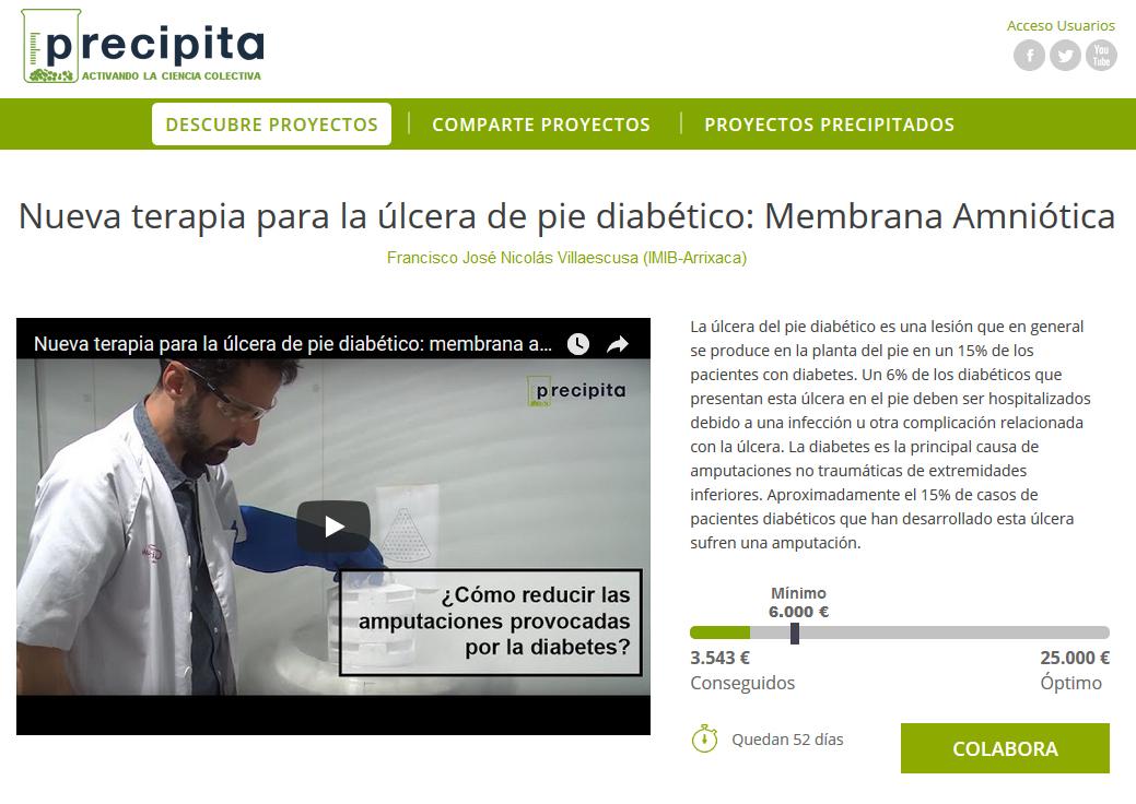 #Crowdfunding: Nueva terapia para las úlceras en personas con pie diabético: Membrana Amniótica