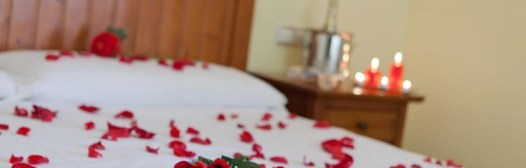 cama con petalos de rosa