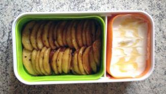 Recette de Bento Fromage blanc et Pommes poêlées au miel