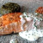 pave saumon creme ciboulette 3 - Pavé de saumon grillé à la crème de ciboulette