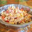 salade riz thon mais poivron 2 - Brochettes de poulet mariné