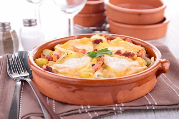 baked potato with cheese and bacon, tartiflette