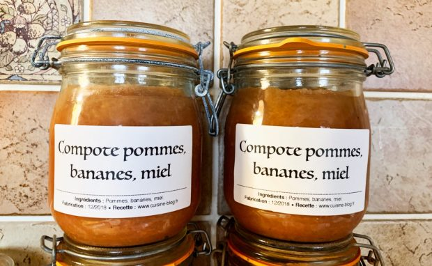 IMG 5737 620x382 - Compote pommes miel bananes (conserves)