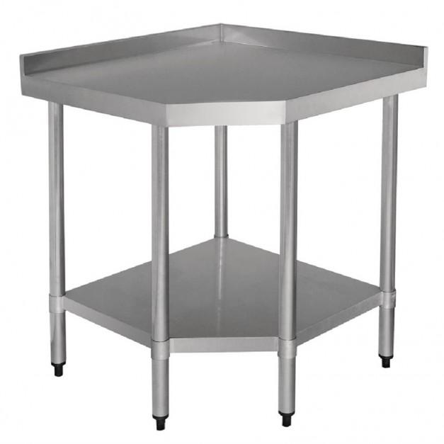 table d angle en inox avec etagere basse 700