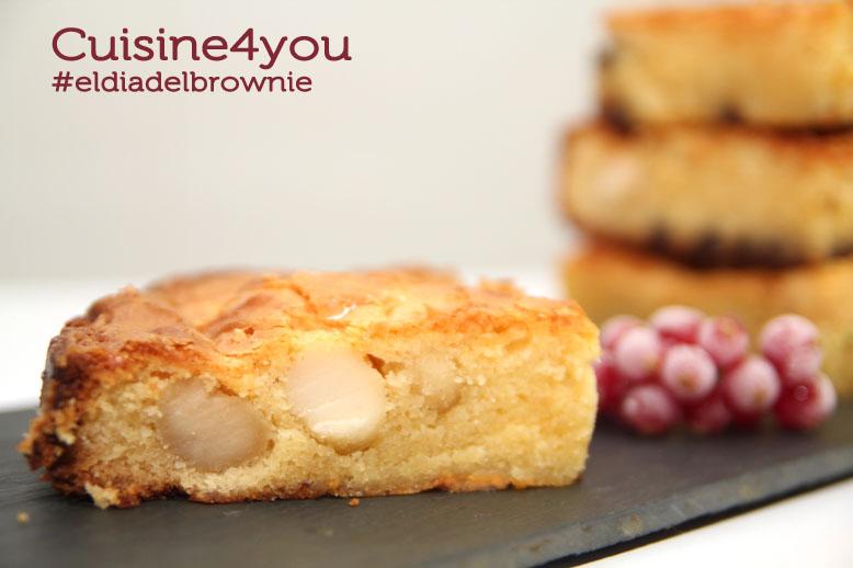 Brownie de chocolate blanco con nueces de macadamia