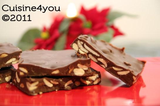 Turrón de chocolate y almendras con Thermomix