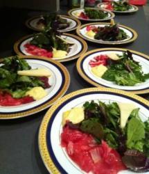 carpaccio fillet mignon, aioli, organic greens.1