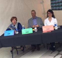 Judges, Mayor Hepner, President of Century Group and Sponsor of the Harvest Fair, Sean Hodgins, and President of Cuisine and Company Marilyn Pearson along with Chef David Jorge, winner of Canada's Top Chef