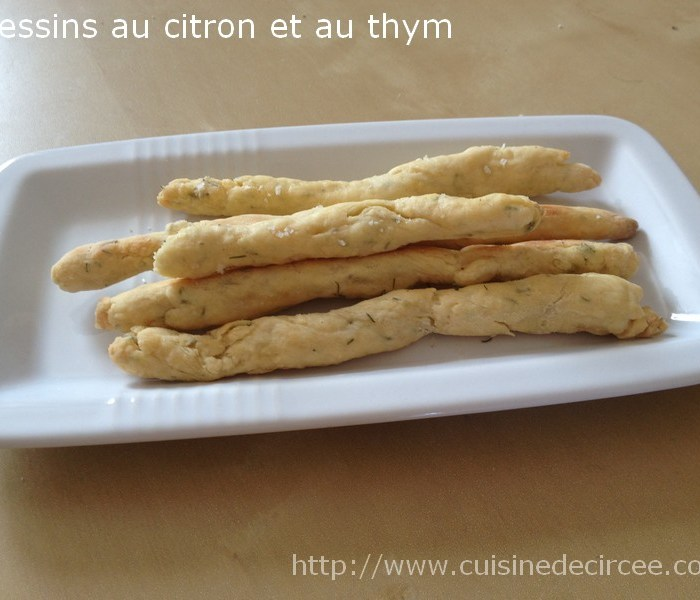 Gressins au thym et au citron