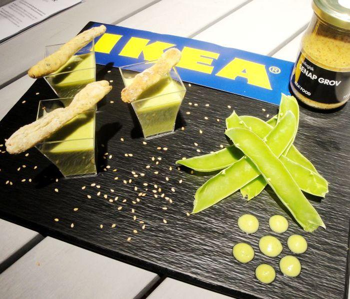 Velouté de petits pois et son gressin à la moutarde à l'ancienne Ikea