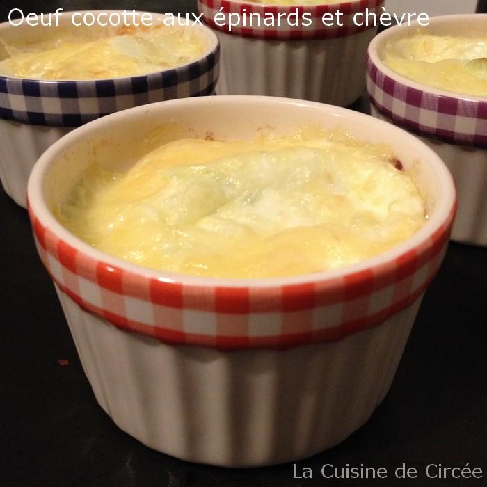 Oeuf cocotte aux épinards et fromage de chèvre