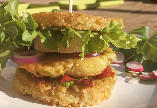 Veggie burger à la galette de pomme de terre