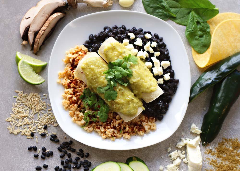 Veggie Enchiladas in Green Sauce, Black Beans, Brown Rice