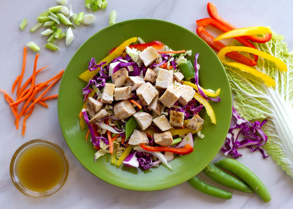 Asian Salad with Chicken, Veggies with Sesame Dressing