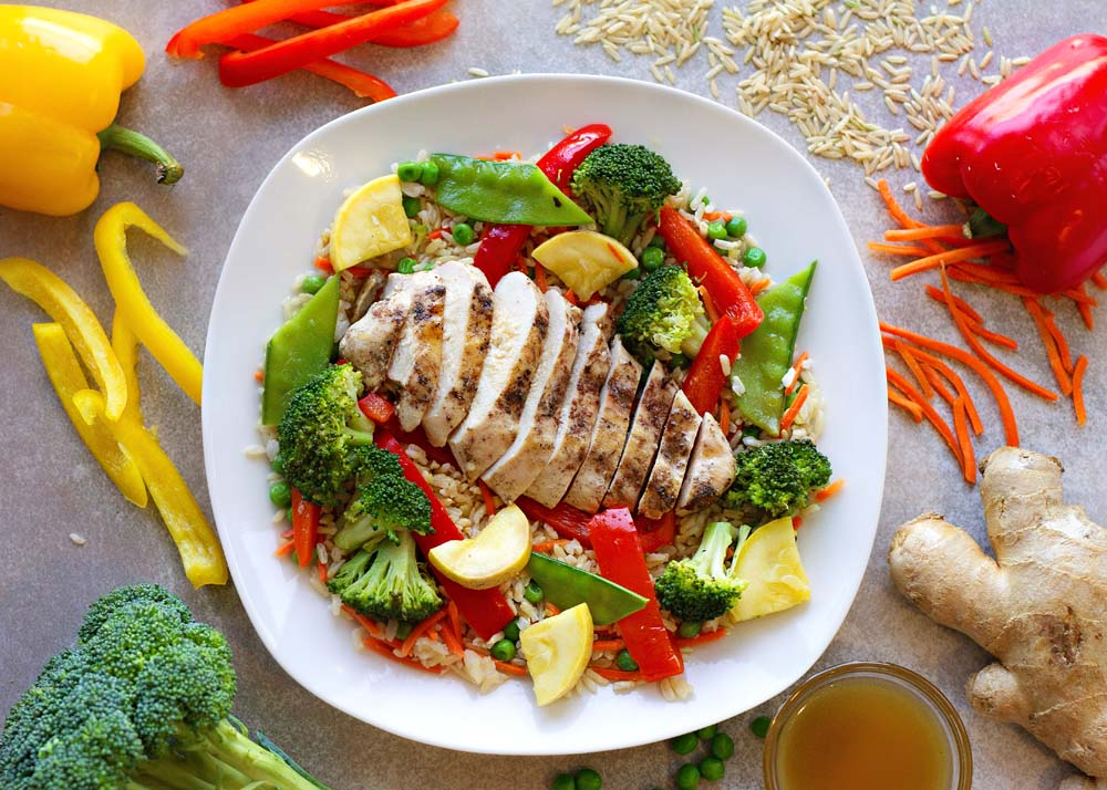 Chicken & Veggie Stir-Fry, Brown Rice