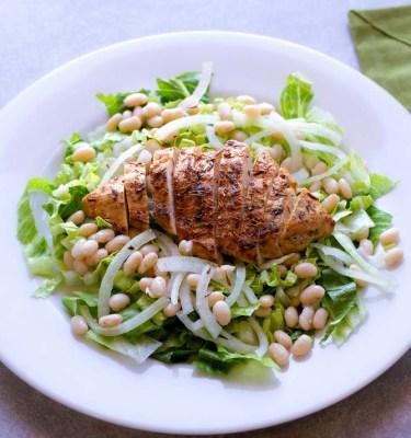 Healthy Chicken Caesar Salad with White Beans