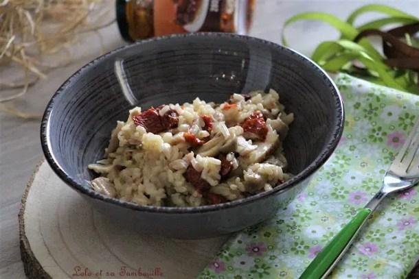Risotto champignons, tomates séchées & poulet rôti