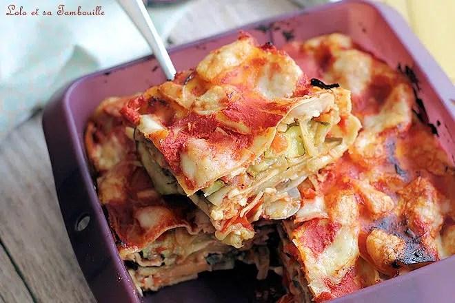 Lasagnes aux légumes chorizo