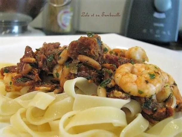 Tagliatelles aux crevettes & tomates séchées