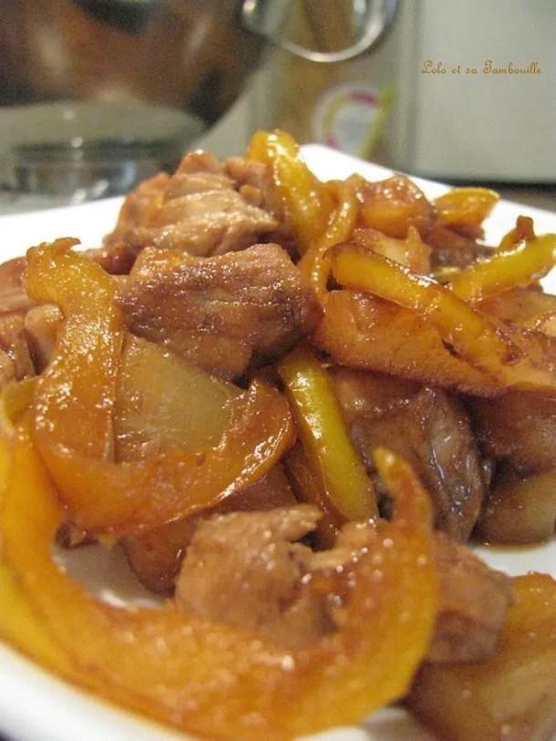 Sauté de dinde à l'ananas, soja & gingembre {riz aux fruits secs}