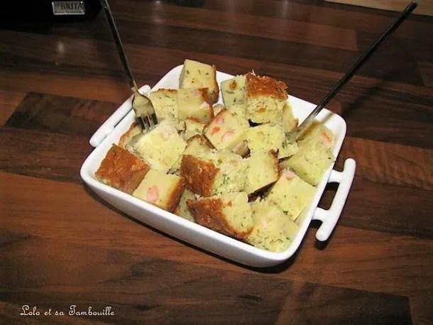 Cake moelleux à la ricotta, courgettes, crevettes & parmesan