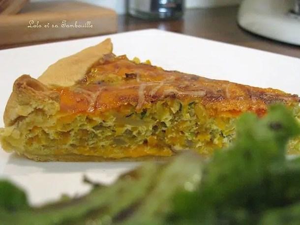 Tarte aux carottes, courgettes & poulet rôti