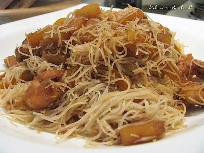 Wok de crevettes à l'ananas