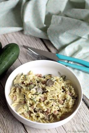 Pâtes aux courgettes & dés de jambon (3)