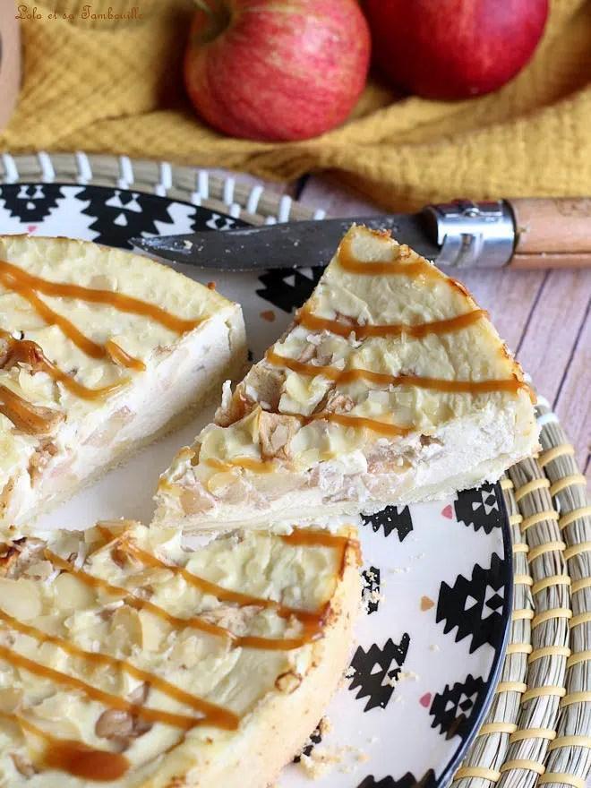 tarte aux pommes cheesecake, tarte cheesecake avec pommes, tarte cheesecake