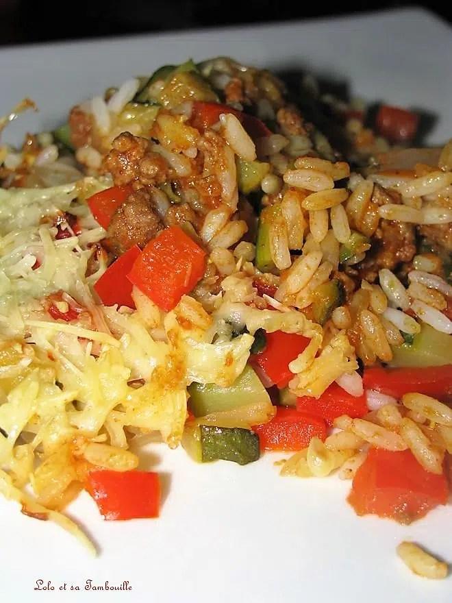 Gratin de boeuf, courgettes & poivrons à l'indienne