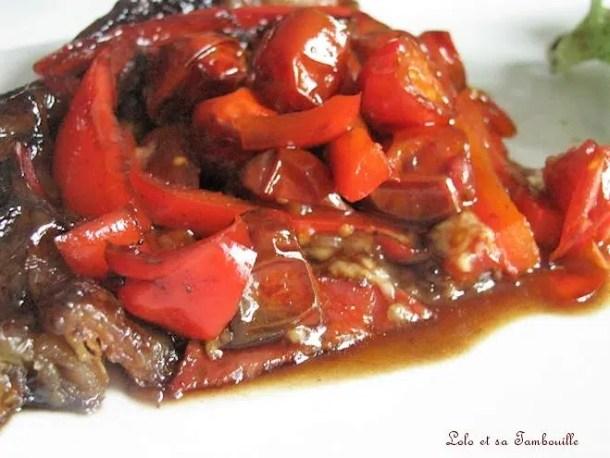 Tatin aux tomates cerises, poivron & caramel de vinaigre balsamique