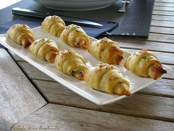Mini croissants au bacon & fromage frais