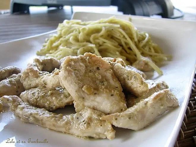 Emincés de poulet, sauce à l'artichaut & zestes de citron