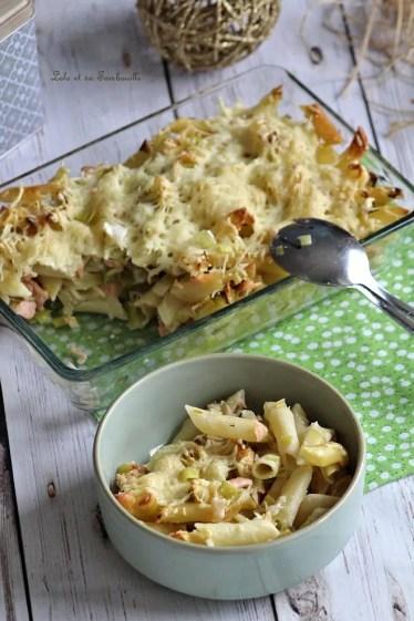 Gratin de pâtes au saumon & poireaux (6)