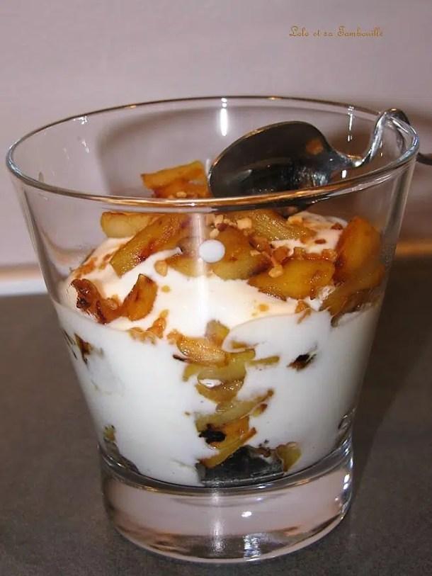 Verrine de pomme caramélisée au fromage blanc