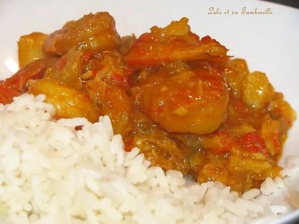 Curry de cabillaud & crevettes au lait de coco