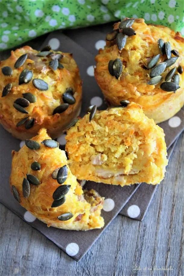 Muffins aux carottes, épices & sons