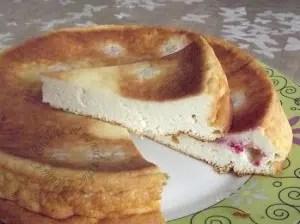 gâteau léger au fromage blanc et aux cerises (framboises) loulou
