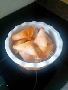 samossas noix de st jacques, chorizo curry philippe