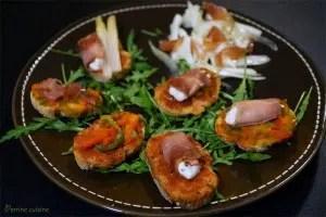Bruschetta aux involtini de jambon cru et salade de fenouil citronnée Perrine