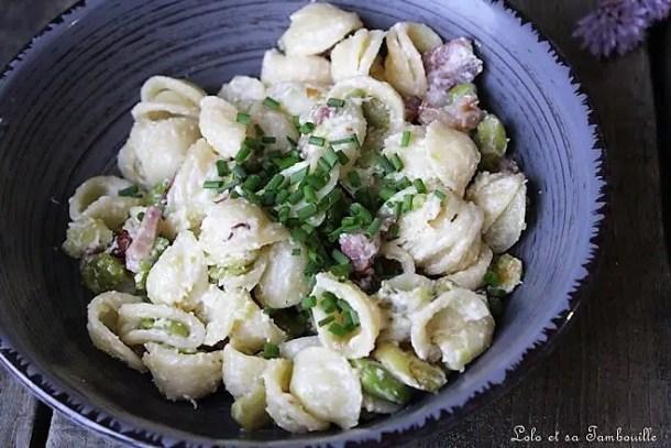 Pâtes aux fèves & lardons