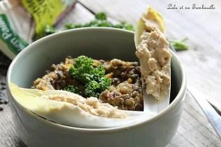 Mijoté de lentilles & pois chiches au lard {feuilles d'endives à l'houmous} (3)