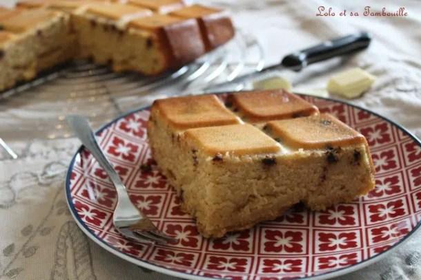 Moelleux au chocolat blanc & lait ribot {avec pépites de chocolat}