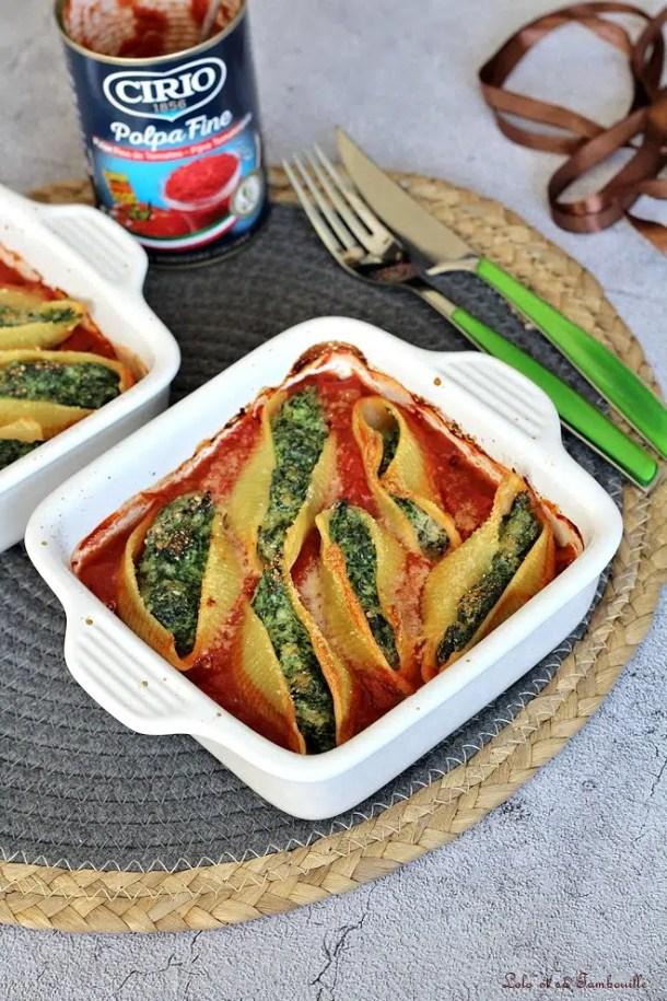 Conchiglionis aux épinards & ricotta
