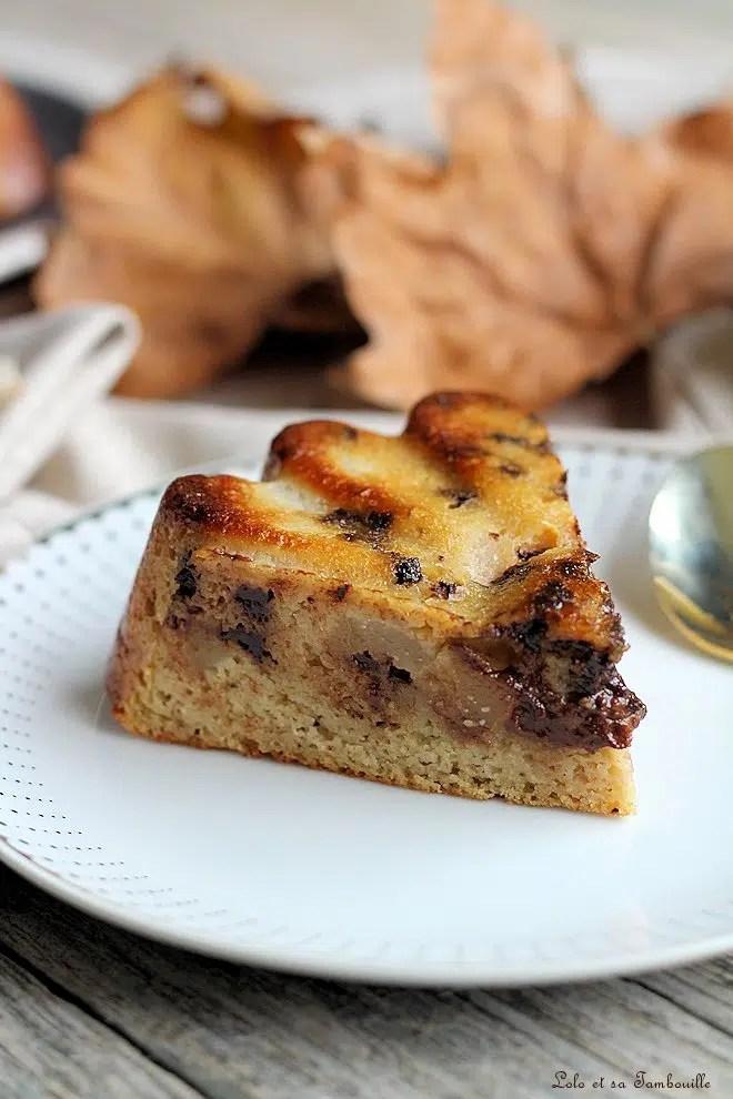Moelleux poires & chocolat {sans lactose, sans beurre}