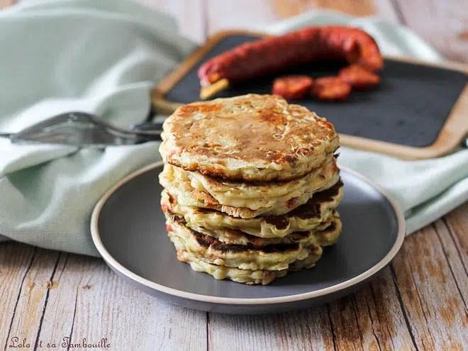 Pancakes poireaux chorizo