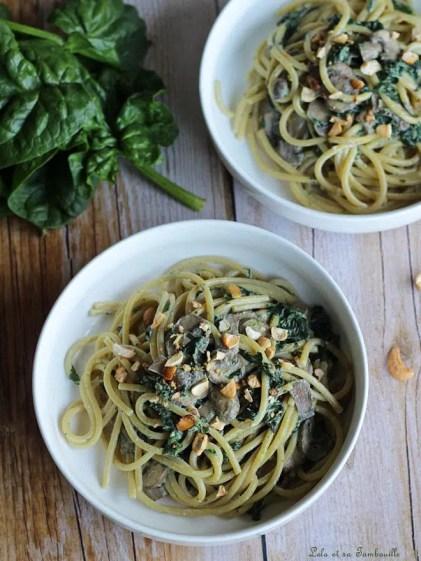 Spaghettis crémeux aux épinards & champignons (2)
